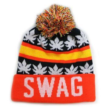 City Hunter Sk1162 Swag Leaves Pom Pom Beanie Hats (Navy/orange)