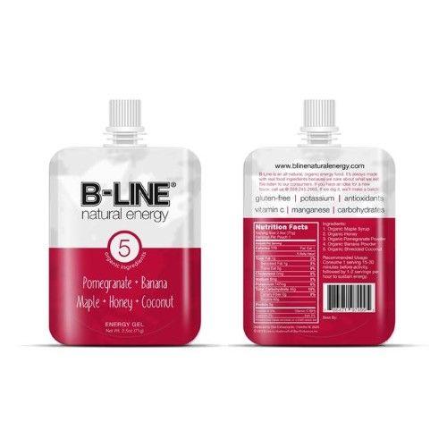B-LINE Natural Energy PB5008 Pomegranate Banana Maple Honey & Coconut Energy Gel - Pack of 5