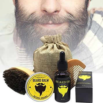 Oshide Premium Beard Care Tool Kit Men's Grooming Set-Beard Oil,Beard Cream,Comb,Brush and Cloth Bag