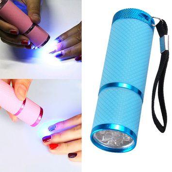 Portable Mini LED Gel Nail Dryer UV Light Lamp Flashlight Nail Art Fast Dry Tool (Blue)