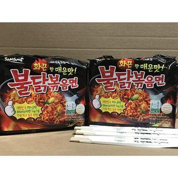 KC Commerce Samyang Hot Chicken Noodle 140g Pack of 10 With FREE Chopsticks (Regular Spicy)