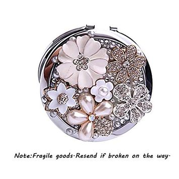 EYX Formula Round Rhinestone Flower Pearl Compact Mirror 2X Magnifying Mirror Cosmetic Mirror,Diamond Double-sided Stainless Steel Frame Portable Mirror Travel Mirror Daily Necessities for Makeup