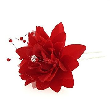 TOOGOO(R)Fashion 5pcs Hair Accessory U Shape Seed Beads Rose Flower White Alloy Hair Clips Pins Red