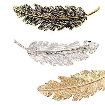 AENMIL Set of 3 Korean Leaves Feather Hairpin Retro Spring Exaggerated Patina Edge Ponytail Hair Clip