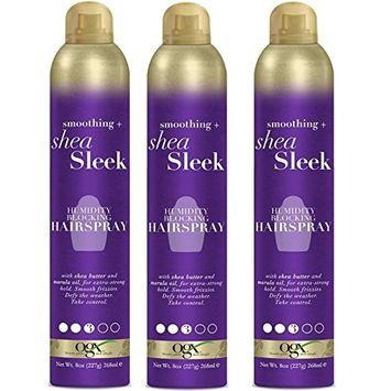 [ PACK OF 3 ] OGX Smoothing + Shea Sleek Humidity Blocking Hairspray 8 ounce : Beauty