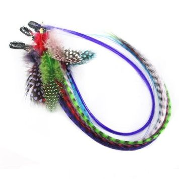 Assorted of colors Feather Clips in Hair Extensions for Women's Beauty Hairsalon in Fashion