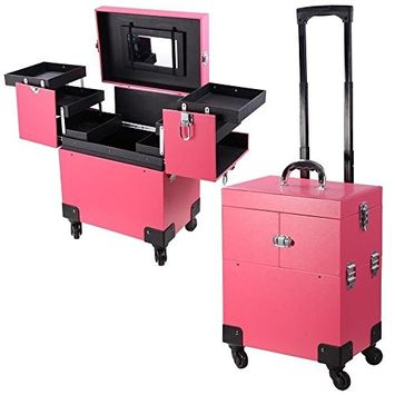 GHP Pigskin PVC Pink 4-Wheeled Rolling Makeup Cosmetic Case with Telescoping Handle