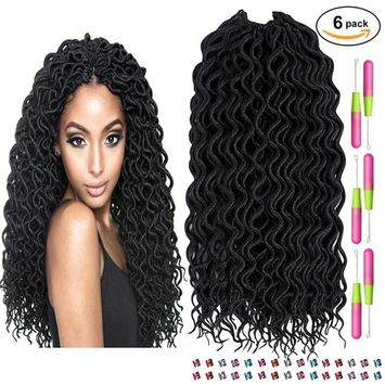 Faux Locs Crochet Hair, Beauty Star 6Packs Curly Faux Locs Twist Crochet Hair Wavy Braiding Hair Synthetic Dreadlock Hair Extensions Havana Mombo Goddess Locs Crochet Hair (Color 1B#, 18inch)