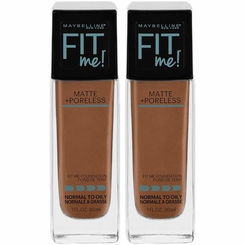 Maybelline Fit Me Matte + Poreless Liquid Foundation Makeup, Nutmeg, 2 COUNT Oil-Free Foundation