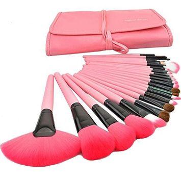 DRQ 24 Pcs Professional Cosmetic Brush Set Kit Makeup Brush Set_Beige