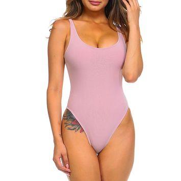 Womens Simple Sleeveless Lightweight Deep U Neck Thong Bodysuit J3513-S-Pink