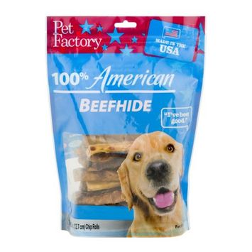 Pet Factory 78117 Rawhide Chip Rolls Dog Treat, 18 Pack