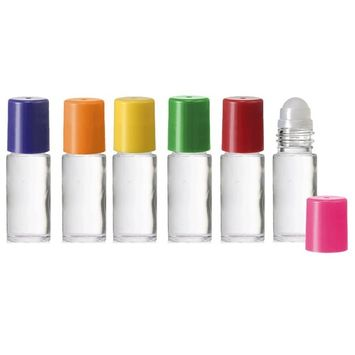 Grand Parfums Rainbow Clear Large 30ml Roll On Empty Glass Bottles for Essential Oils Refillable 1 Oz Glass Roller 6 Pack Clear Glass 30 ml
