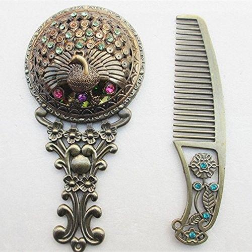 Carejoy Retro Vintage Attractive Bronze Handheld Mirrors Hollow Cosmetic Compact Mirror Comb Set With Gift Box Random Color