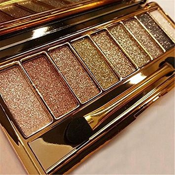 9 Colors Diamond Shimmer Glitter Eyeshadow Palette with eye shadow makeup Brush
