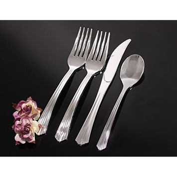 Upscale Collection, Heavyweight Polished Silver Plastic Cutlery (160 Pc), 80 Forks, 40 Knives, 40 Spoons, Party of 40 Combo Pack
