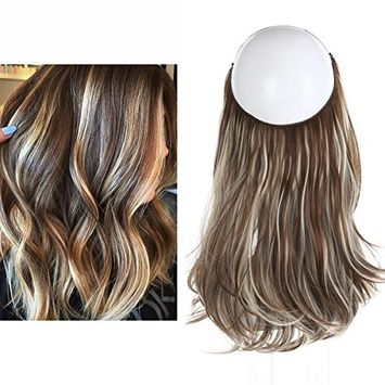 Short Hair Extensions Halo Wire Sercet Crown Synthetic Wavy Curly Brown Blonde Bayalage Hairpieces For Women Invisible Auburn Burgundy Heat Resistant Fiber 14