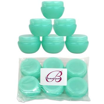 Beauticom 6 Pieces High Quality 10 Gram 10 ml (0.3 oz) Frosted Green Round Cream Salve Cosmetic Sample Jars with Liners