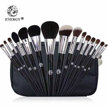 ENERGY Makeup Brushes 15Pcs Makeup Brush Set Premium Synthetic Foundation Brush Blending Face Powder Blush Concealers Eye Shadows Make Up Brushes Kit with Makeup brush pouch