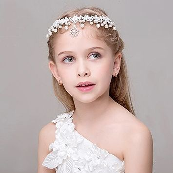 White Lace Pearl Rhinestone Forehead Headbands Hairbands for Girls Women Hair accessories Headpiece