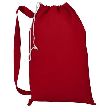 Heavy Duty Natural Cotton Canvas Laundry Bags (Red)