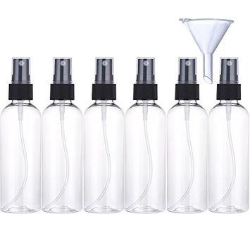 Pangda 6 x 100 ml Transparent Fine Mist Spray Bottles Travel Bottle Set and 1 Piece Funnel