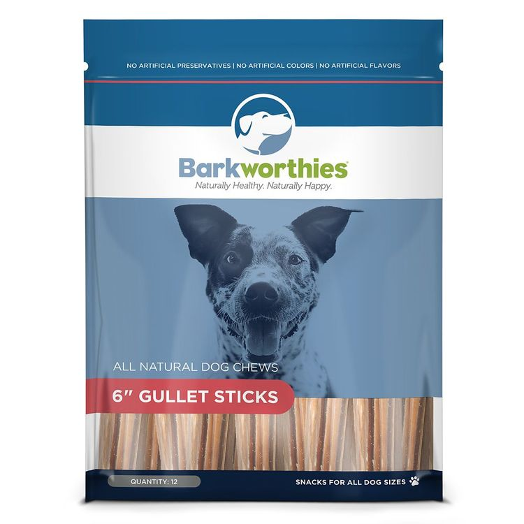 """Barkworthies 6"""" Beef Gullet Sticks Dog Chew - Natural size: 12 Count"""