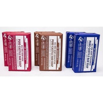 Dr. Bronner's Pure-Castile Bar Soap - Variety Pack: Eucalyptus, Peppermint and Rose