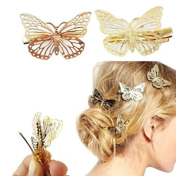DAXUN Pack of 2 Golden Butterfly Hairpin, Bride Headwear Hair Clips Headband Hair Accessories Headpiece