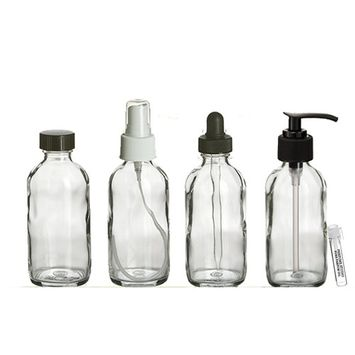 Perfume Studio® 4oz Essential Oil Clear Glass Bottles - Pack of 4 Boston Round Glass Bottles; Pump, Dropper, Spray, and Cap - Complimentary Essential Oil/Perfume Sample Vial