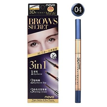 Eyebrow Pencil with Brow Brush,lotus.flower Waterproof 3in1 eyebrow pencil (eyebrow pencil + eyebrow powder stick + dye styling paste)