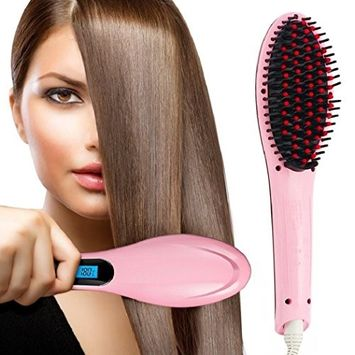 One & Only 3 in 1 Salon Grade Professional Hair Straightener, RC Electric Hair Straightening Brush Ceramic Hair Brush
