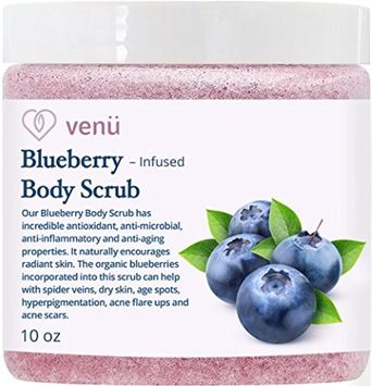 Blueberry Body Scrub - Daily Exfoliating Treatment to Brighten Skin - Anti-Aging, Anti-Microbial and Anti-Inflammatory Properties - For Varicose and Spider Veins and More - By Venu