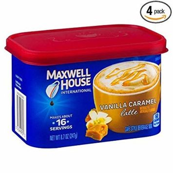 Maxwell House International Cafe Flavored Instant Coffee, Vanilla Caramel Latte, 8.7 oz Canister (Pack of 4) (Limited Edition)