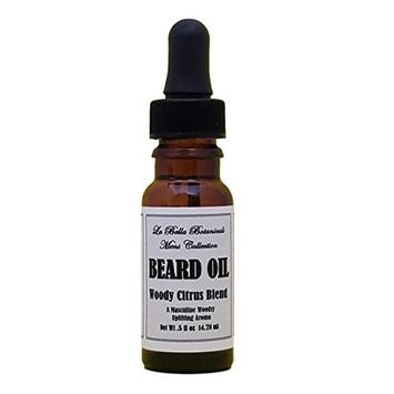 Woody Citrus Blend Beard Oil, 14.78 ml - .5 fl oz with Dropper, Argan Beard Oil, Jojoba Oil, Almond Beard Oil, Goatee Oil, Vitamin E,Cedarwood Oil, Rosemary Oil, and Other Essential OIls