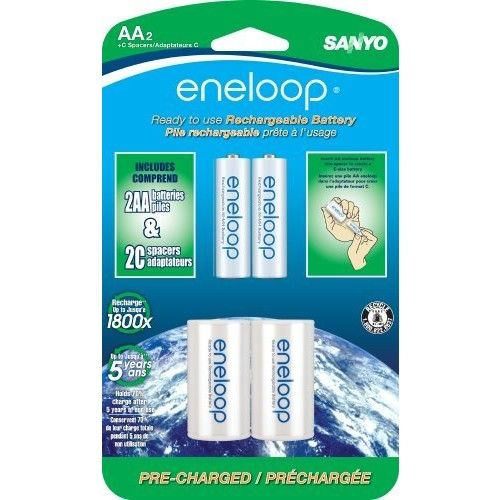"eneloop AA with ""C"" Spacers, 1800 cycle, Ni-MH Pre-Charged Rechargeable Batteries, 2 Pack"