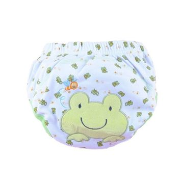Baby Toddler Training Panties Cute Reuseble Cotton Cartoon Potty Nappy (80 (S), Frog)