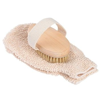 Pretty See Bristles Bath Brush and Gloves Bath Scrubbers Bath Massage Brushes with 1 Bath Brush and 1 Pair of Bath Gloves, Suitable for Wet and Dry Wash