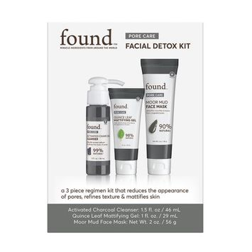 FOUND PORE CARE Facial Detox Kit: Activated Charcoal Cleanser, Quince Leaf Mattifying Gel, Moor Mud Face Mask