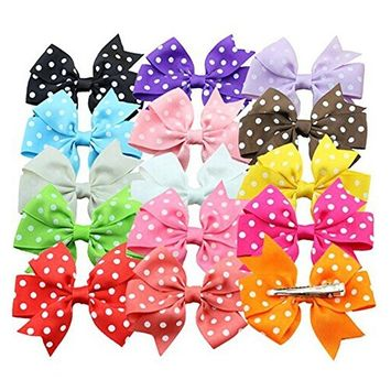 TOOGOO(R)15 Colors Polka Dotted Bowknot Style Girls Kids Alligator Clip Grosgrain Ribbon Hair Clips