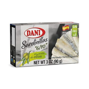 Dani Small Sardines (Pack of 10 units) in Olive Oil (6-10 sardines) 3 oz (90 g) each unit