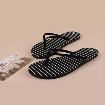 Voberry® Black Stripe Flat Slippers Summer Beach Slippers Massage Slippers