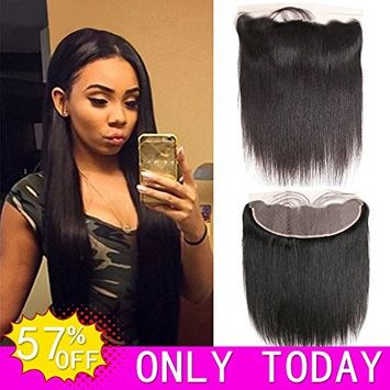 Hvaxing 13x4 inch Ear To Ear Full Lace Frontal Closure Straight Bleached Knots With Baby Hair Unprocessed Free Part Brazilian Virgin Human Hair Extensions(12