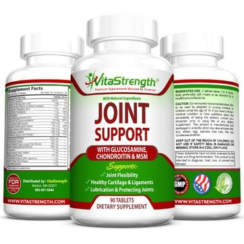 VitaStrength Joint Support with Glucosamine, Chondroitin & MSM - 1000 Milligrams Glucosamine - Promotes Healthy Cartilage & Ligaments - Encourages Joint Flexibility - 90 Tablets