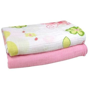 Stephan Baby Cotton Muslin Swaddle Blankets Gift Set, Solid Pink/Swirly Flower, 2 Piece