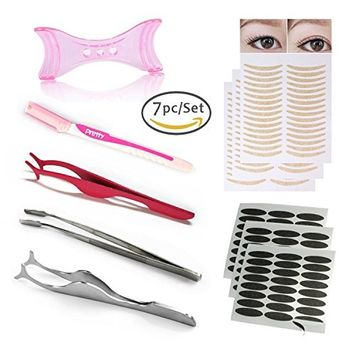7Pc/Set Eyes Makeup Set Hidden Double Eyelid Sticker Eyeliner Template Eyebrow Razor Trimmer Eyebrow Tweezers