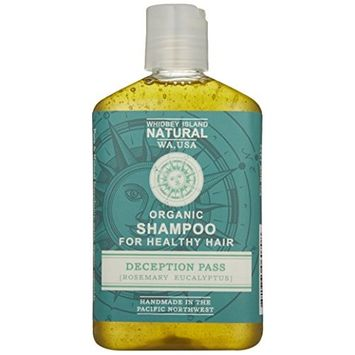 Whidbey Island Natural Organic Shampoo - Deception Pass (Rosemary Eucalyptus) Made with enriching tropical and nut oils. Safe for dyed hair. No Sodium Lauryl Sulfate. No alcohol.