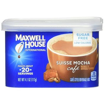 Maxwell House Suisse Mocha Sugar Free Instant Coffee International Cafe, 4.1 Ounce, Pack of 4