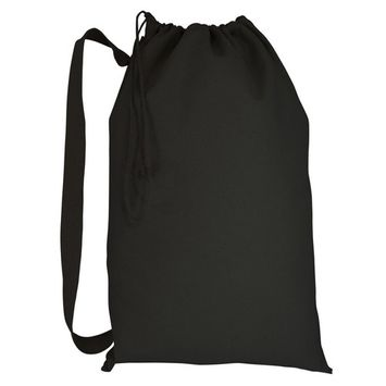 Heavy Duty Natural Cotton Canvas Laundry Bags (Small, Black)