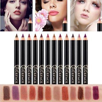 DZT1968 12pcs Lot Set 14.2x0.7cm 12 Colors Professional Waterproof no-fade Makeup Waterproof Lip Liner Pencil